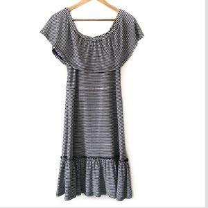 Micheal Kors Striped Ruffle Dress